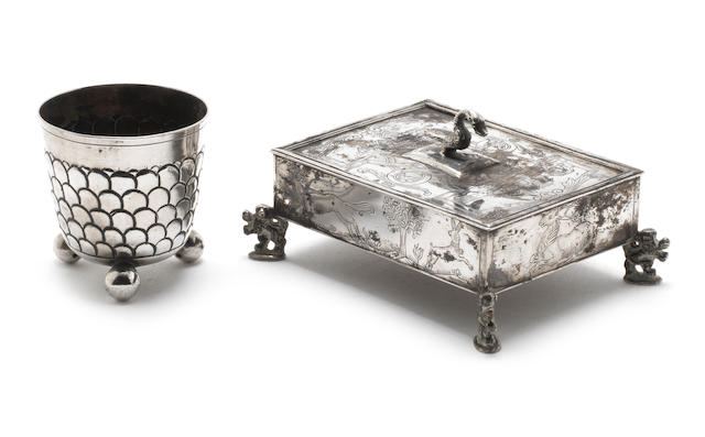 A quantity of continental silver items comprising: a scroll, a travelling set, a filigree dish, a goblet with Hevbrew inscription, a spice box, coin and a Nurmburg beaker