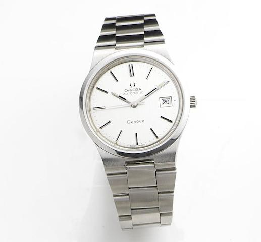 Omega. A stainless steel automatic calendar bracelet watchGeneve Automatic, Ref:166.0173, Movement No.36753906, Sold 11th August 1975