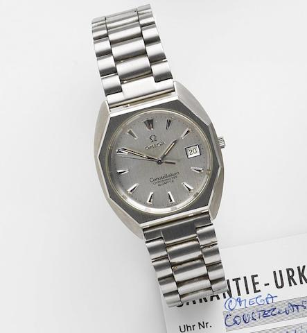 Omega. A stainless steel quartz calendar bracelet watchConstellation, Ref:3872, Movement No.40608979, Sold 31st September 1984
