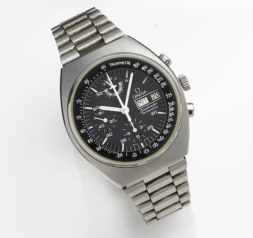 Omega. A stainless steel automatic calendar chronograph bracelet watchSpeedmaster Automatic, Ref:176.0012, Movement No.45452892, Sold 28th September 1984