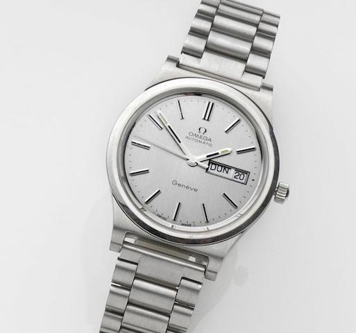 Omega. A stainless steel automatic calendar bracelet watch Geneve Automatic, Movement No.36829027, Sold 16th October 1984