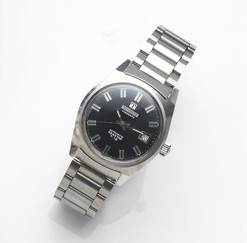 Tissot. A stainless steel automatic calendar bracelet watchVisodate Automatic Seastar T-12, Ref:2-44942, Movement No.1422619, Sold 10th November 1987