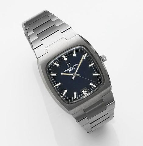 Eterna. A stainless steel automatic calendar bracelet watchEterna-matic 3003, Case No.664.4002.41, Sold 22nd November 1984