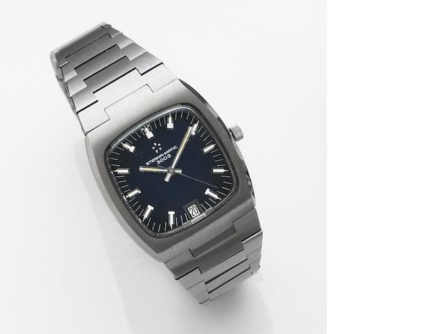 Eterna. A stainless steel automatic calendar bracelet watch Eterna-matic 3003, Case No.664.4002.41, Sold 22nd November 1984