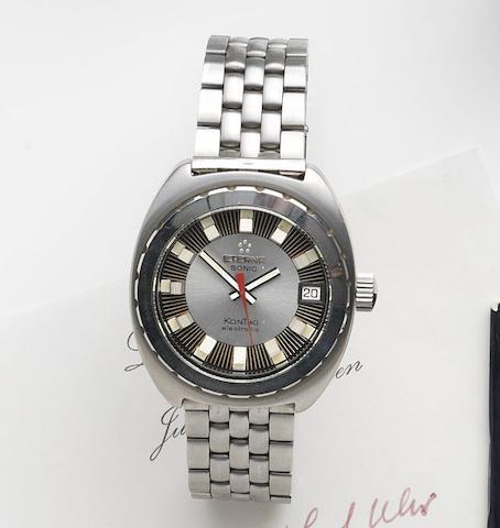 Eterna. A stainless steel quartz calendar bracelet watchSonic KonTiki, Ref:131FTT, Circa 1971