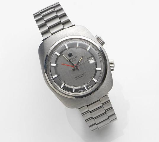 Tissot. A stainless steel manual wind calendar alarm bracelet watch Naviator Sonorous, Ref:40530-1X, Movement No.17303521, Circa 1975