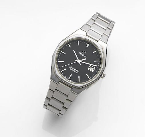 Omega. A stainless steel quartz calendar bracelet watchSeamaster Quartz, Ref:196.0128, Movement No42557800, Sold 1st December 1979