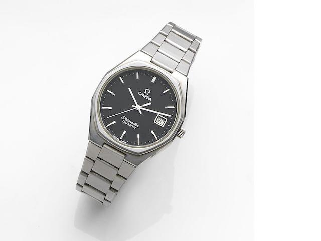 Omega. A stainless steel quartz calendar bracelet watch Seamaster Quartz, Ref:196.0128, Movement No42557800, Sold 1st December 1979