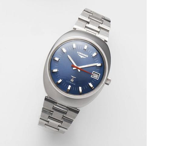 Longines. A stainless steel quartz calendar watch Ultronic, Ref:8486-1, Case No.15921461, Movement No.51272478, Sold 8th February 1985