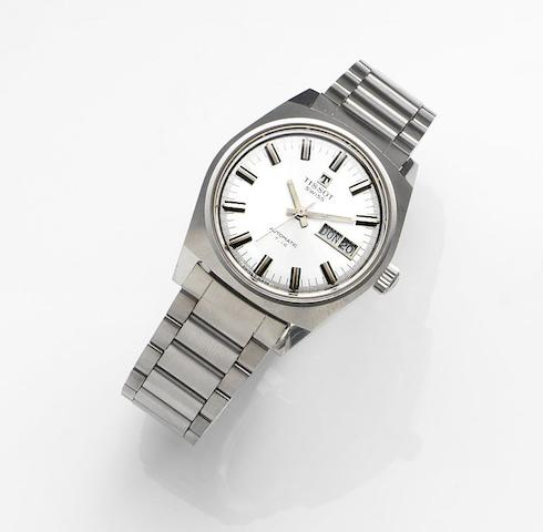 Tissot. A stainless steel automatic calendar bracelet watch Automatic T.12, Ref:13328848, Movement No.794246558, Sold 1st March 1985