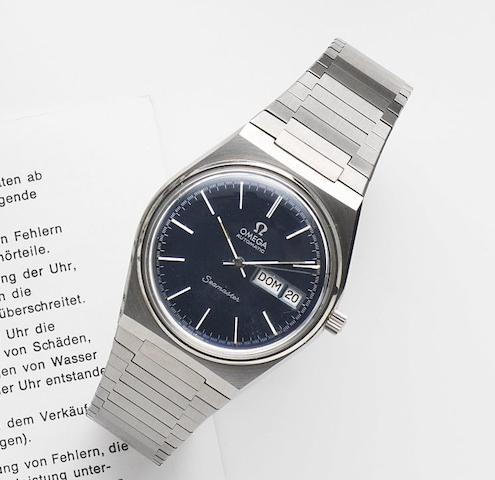 Omega. A stainless steel automatic calendar bracelet watch Seamaster Automatic, Ref:166.0215, Movement No.40918836, Sold 5th April 1985