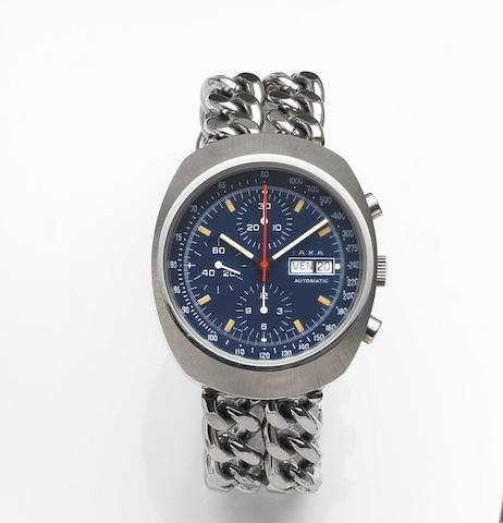IAXA. A stainless steel automatic calendar chronograph bracelet watchRef:7000, Circa 1975