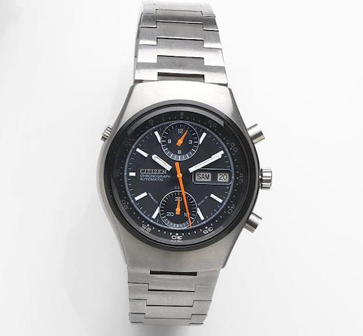 Citizen. A stainless steel automatic calendar chronograph bracelet watch Ref:67-9119, Case No.40900527, Circa 1980