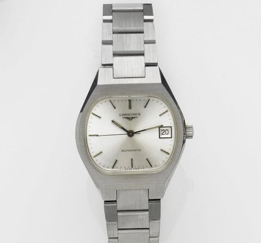Longines. A stainless steel automatic calendar bracelet watchAutomatic, Case No.17764521, Movement No.52808769, Circa 1980