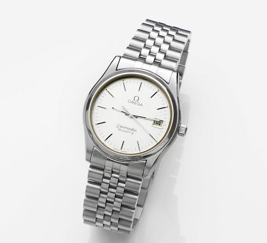 Omega. A stainless steel quartz calendar bracelet watchSeamaster Quartz, Ref:196.0190, Movement No.43598365, Sold 28th August 1981