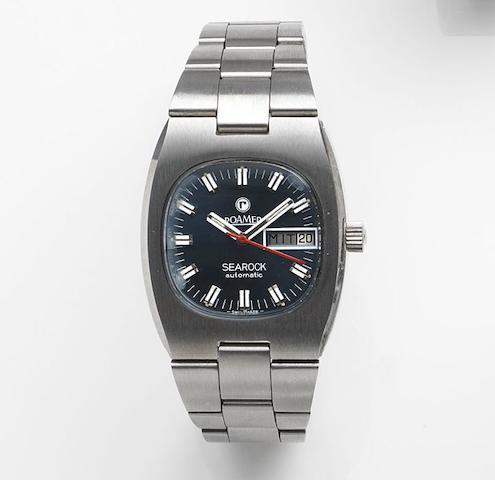 Roamer. A stainless steel automatic calendar bracelet watch Searock Automatic, Ref:523.2120.617, Case No.36003, Sold 25th February 1986
