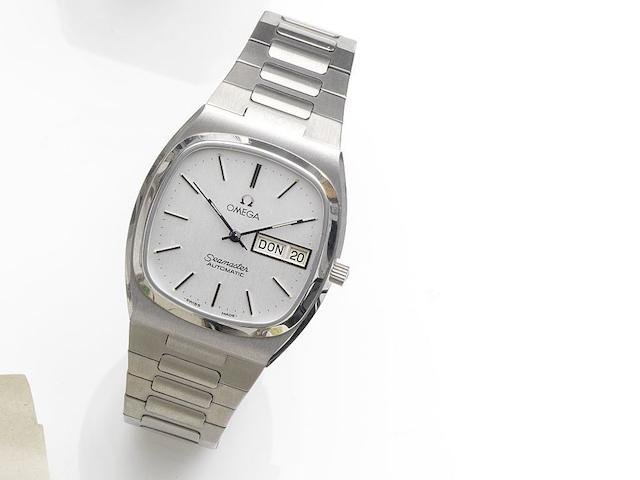 Omega. A stainless steel automatic calendar bracelet watch Seamaster Automatic, Movement No.3957857, Sold 25th February 1986