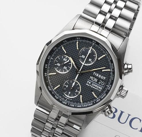 Tissot. A stainless steel automatic calendar chronograph bracelet watchPR100 Chrono Automatic, Circa 2000