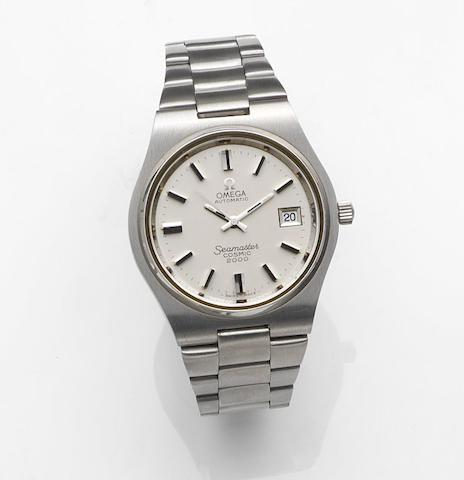 Omega. A stainless steel automatic calendar bracelet watchMovement No.40722019, Seamaster Cosmic 2000, Sold 27th October 1986