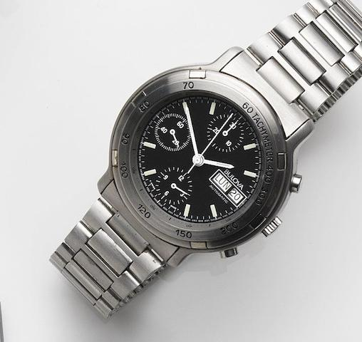 Bulova. A stainless steel automatic calendar chronograph bracelet watchRef:11588, Case No.535591, Circa 1990