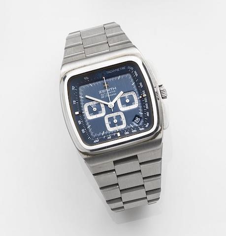 Zenith. A stainless steel automatic calendar chronograph bracelet watchEl Primero Surf, Ref:01-0200-415, Circa 1975