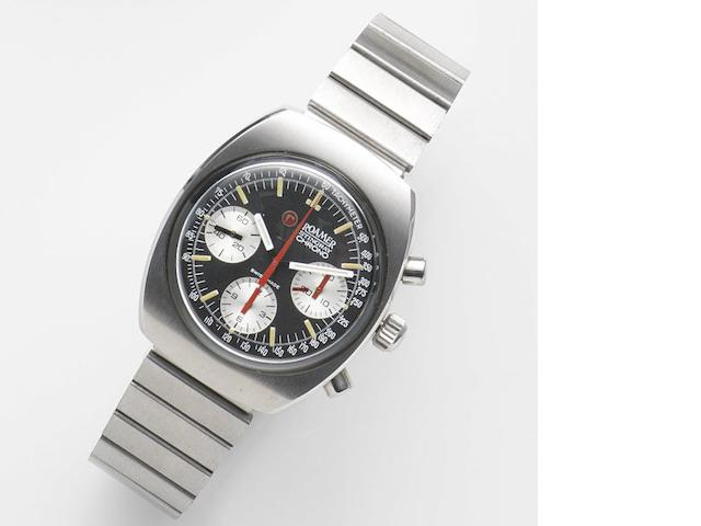 Roamer. A stainless steel manual wind chronograph bralcet watch Stingray Chronograph, Ref:726-9120.602, Circa 1975