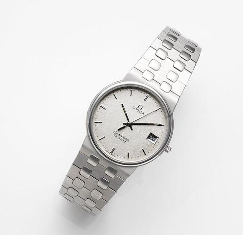 Omega. A stainless steel quartz calendar bracelet watchSeamaster Quartz, Ref:196.0277, Movement No.46549301, Sold 25th November 1983