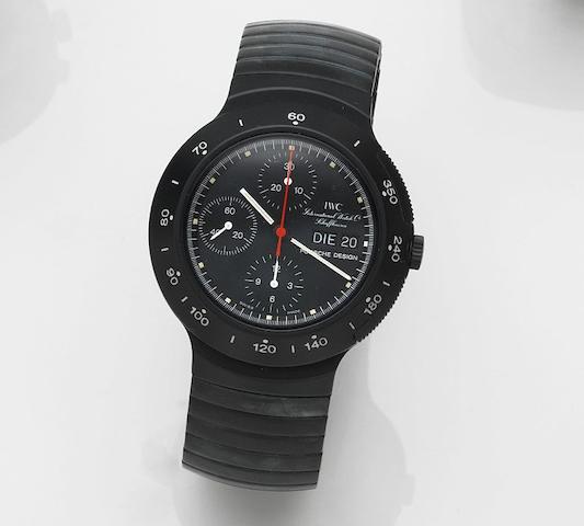 IWC. A PVD coated aluminium automatic chronograph calendar bracelet watch Porsche Design, Ref:3701, Case No.2324666, Sold 14th September 1988