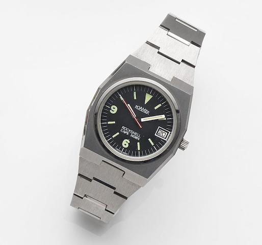 Roamer. A stainless steel automatic calendar bracelet watchRockshell Cape Horn, Ref:522-5120.017, Case No.358522, Circa 1989