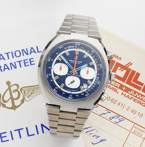 Breitling. A stainless steel manual wind calendar chronograph bracelet watchTransOcean, Ref:7102, Case No.1381622, Circa 1972