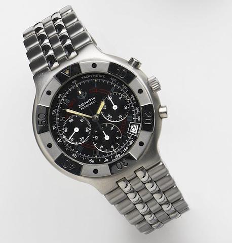 Zenith. A stainless steel automatic calendar chronogrph bracelet watchRef:02.0730.400, Circa 1995