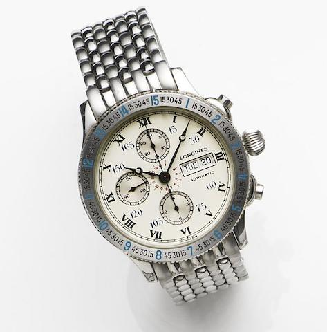 Longines. A stainless steel automatic calendar chronograph bracelet watchLindbergh, Case No.674.5232, Sold 24th July 1990
