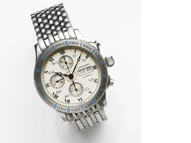 Longines. A stainless steel automatic calendar chronograph bracelet watch Lindbergh, Case No.674.5232, Sold 24th July 1990