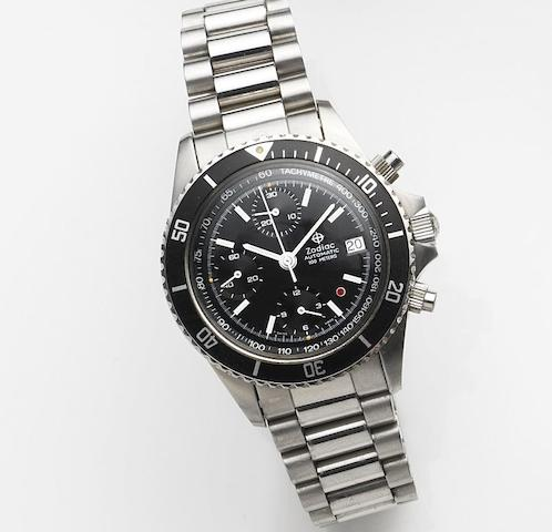 Zodiac. A stainless steel automatic calendar chronograph bracelet watch Ref:406.31.11, Sold 28th April 1992