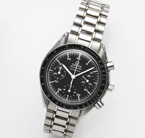 Omega. A stainless steel automatic chronograph bracelet watchSpeedmaster Automatic, Ref:175.0032, Case No.51195624, Sold 7th April 1993
