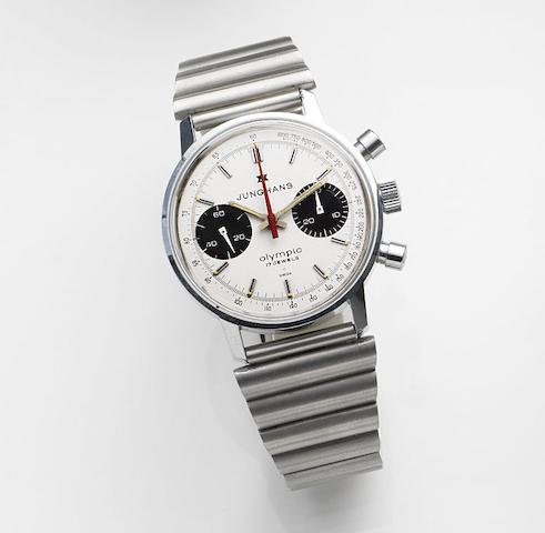 Junghans. A stainless steel manual wind chrongraph bracelet watchOlympic, Ref:3752MS, Sold 7th January 1984