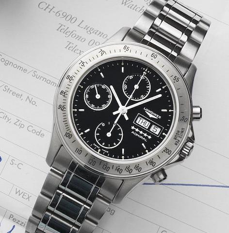 Longines. A stainless steel automatic calendar chronograph bracelet watch Admiral, Ref:L3 603 4, Case No.26270939, Sold 31st July 1993