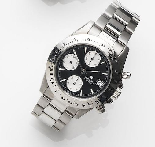 Breil. A stainless automatic calendar chronograph bracelet watch Ref:14905.1, Case No.15046, Sold 31st July 1993