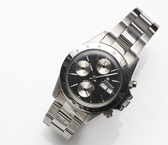 Tutima. A stainless steel automatic calendar chronograph bracelet watch Ref:793, Case No.940945, Circa 1995