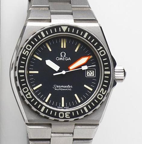 Omega. A stainless steel automatic calendar bracelet watchSeamaster Automatic, Ref:166.0251, Movement No.41510802, Sold 6th January 1990