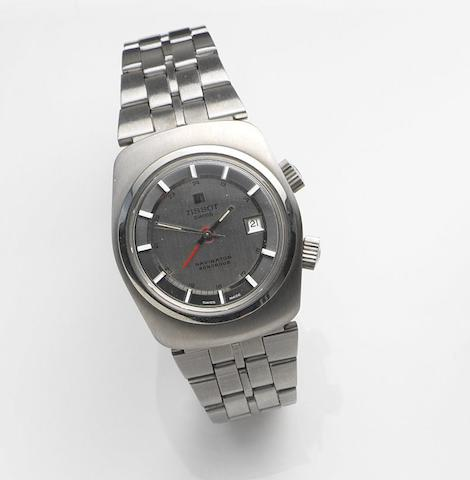 Tissot. A stainless steel manual wind calendar alarm bracelet watchNaviator Sonorous, Ref:40530-1X, Circa 1975