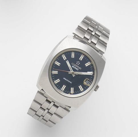 Eterna. A stainless steel quartz calendar bracelet watch Sonic Electronic, Ref:187T, Case No.5802521, Circa 1975