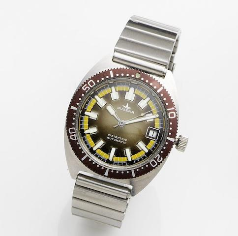 Dugena. A stainless steel automatic calendar bracelet watch Watertrip, Case No.542481, Circa 1975