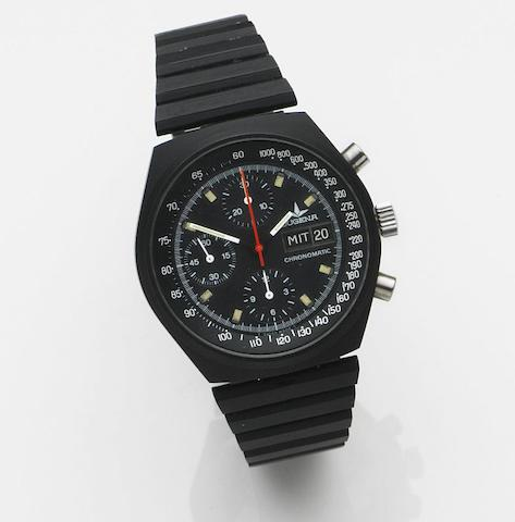Dugena. A PVD coated automatic calendar chronograph bracelet watchChronomatic, Ref:7000, Case No.524265, Circa 1980
