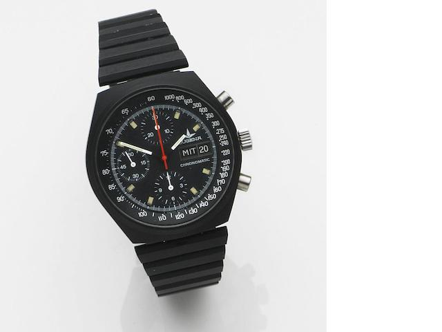 Dugena. A PVD coated automatic calendar chronograph bracelet watch Chronomatic, Ref:7000, Case No.524265, Circa 1980