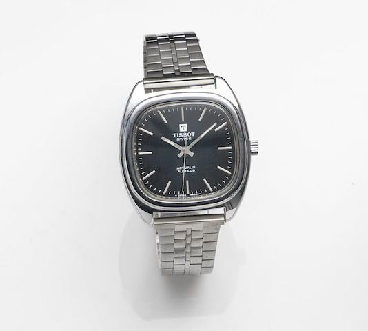 Tissot. A stainless steel automatic centre second bracelet watchActualis Autolub, Circa 1975