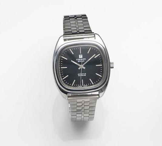 Tissot. A stainless steel automatic centre second bracelet watchActualis Autolub, Circa 1975