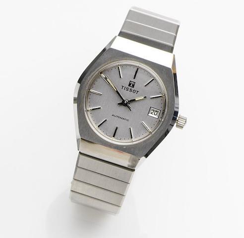 Tissot. A stainless steel automatic calendar bracelet watch Case No.164516, Movement No.20185, Circa 1975