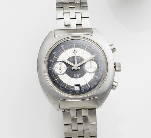 Atlantic. A stainless steel manual wind calendar chronograph bracelet watch Timeroy, Case No.5401029, Circa 1975