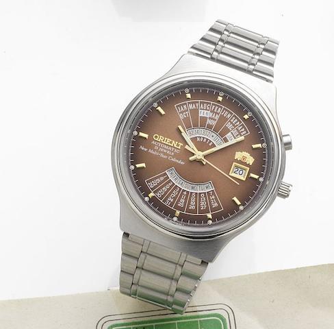 Orient. A stainless steel automatic calendar bracelet watchNew Multi-Year Calendar, Case No.46D701-91, Circa 1980
